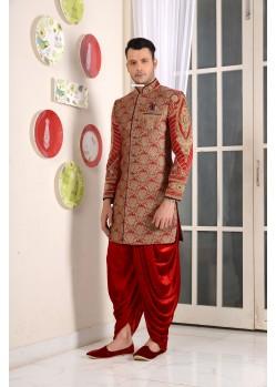 Outstanding Red Jacquard Dhoti Sherwani