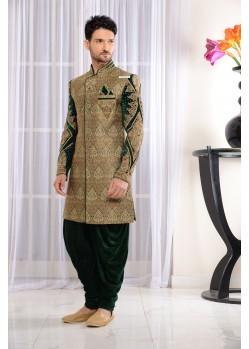 Flattering Green Jacquard Dhoti Sherwani