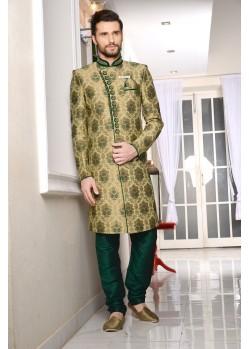 Outstanding Green Jaquard Embroidered Sherwani