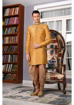 Outstanding Yellow Jaquard Embroidered Sherwani