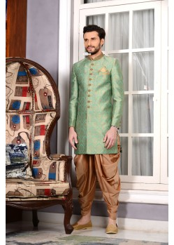 Unique Light Green Jacquard Embroidered Sherwani