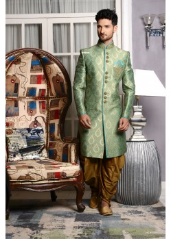 Outstanding Green Jaquard Embroidered Sherwani