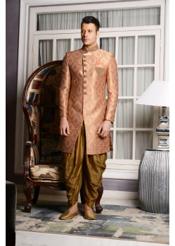 Eye-catching Peach Jacquard Dhoti Sherwani