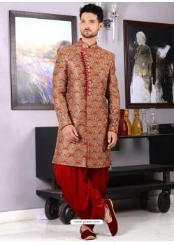 Impressive Jacquard Red Dhoti Style Sherwani