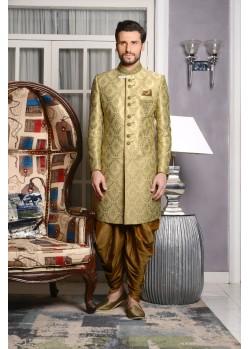 Flattering Green Brocade Dhoti Sherwani
