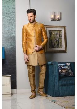 Outstanding Yellow Brocade Designer Sherwani