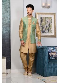 Outstanding Green Brocade Embroidered Sherwani