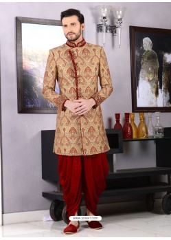 Jacquard Golden Dhoti Style Sherwani