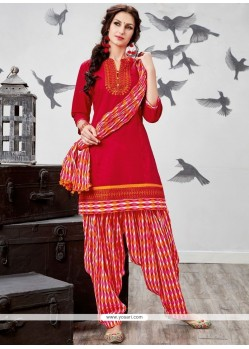 Embroidered Work Chanderi Cotton Red Punjabi Suit