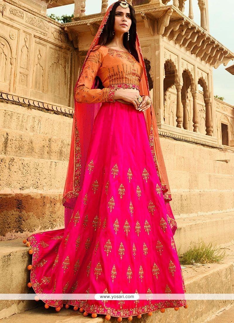 1323ededa7 Buy Art Silk Hot Pink Lehenga Choli | Wedding Lehenga Choli