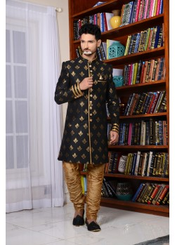 Flattering Black Banarasi Silk Stylish Sherwani