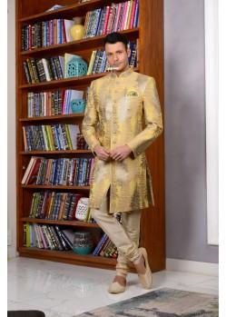 Outstanding Golden Banarasi Silk Churidar Sherwani