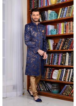 Admiring Neavy Blue Banarasi Silk Sherwani