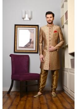 Incredible Golden Banarasi Silk Sherwani
