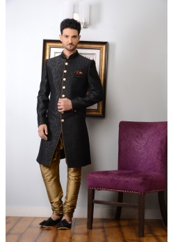Eye-catching Black Banarasi Silk Stylish Sherwani