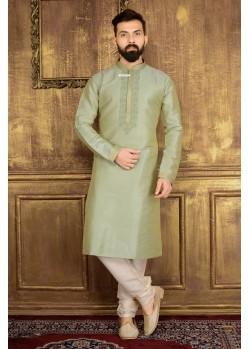 Excellent Light Green Banarasi Silk Kurta Pajama