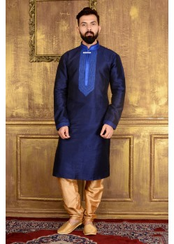 Ethnic Navy Blue Banarasi Silk Kurta Pajama