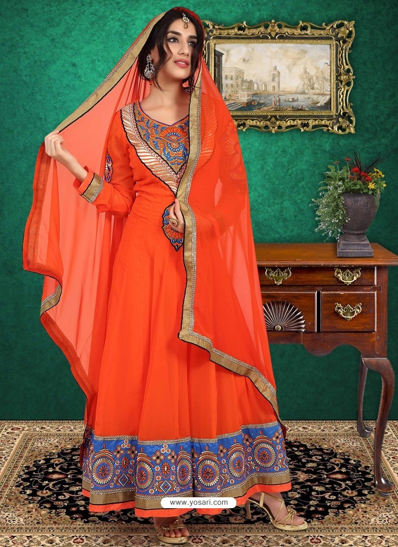 Orange Georgette Anarkali Suit