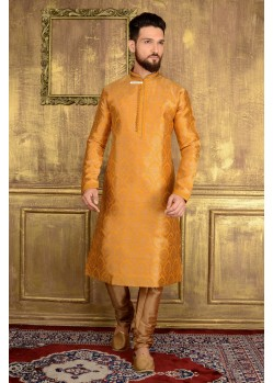 Stylish Yellow Jacquard Kurta Payjama