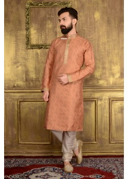 Stylish Peach Jacquard Kurta Pajama