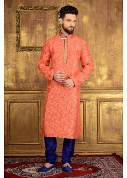 Orange Jacquard Kurta Pajama