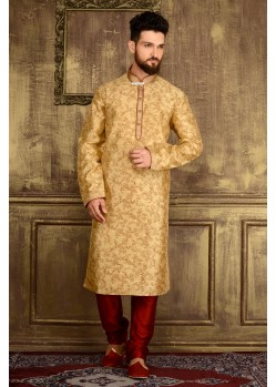 Traditional Golden Jacquard Kurta Pajama