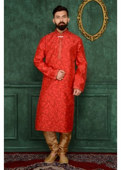 Red Festival Wear Kurta Pajama