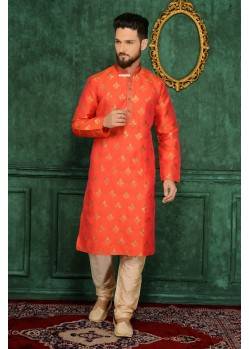 Ideally Orange Jacquard Kurta Pjama