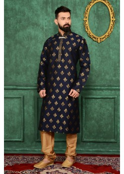 Dashing Black Jacquard Kurta
