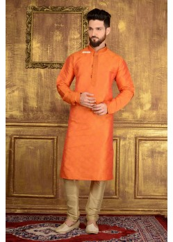 Mind-Blowing Orange Jacquard Kurta
