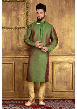 Stylish Green Jacquard Kurta Pajama