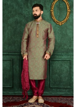 Traditional Green Jacquard Kurta Pajama
