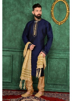 Ideally Navy Blue Jacquard Kurta