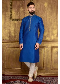 Flattering Blue Art Silk Kurta