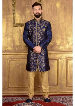 Mind-Blowing Navy Blue Jacquard Kurta