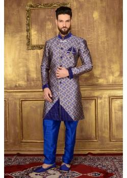 Outstanding Blue Jacquard Churidar Sherwani