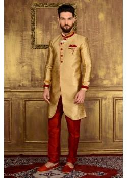 Classic Golden Jacquard Churidar Sherwani
