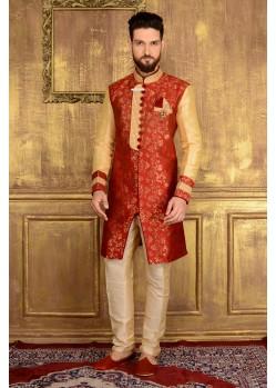 Admiring Red Party Wear Sherwani