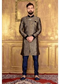 Outstanding Black Jacquard Designer Sherwani