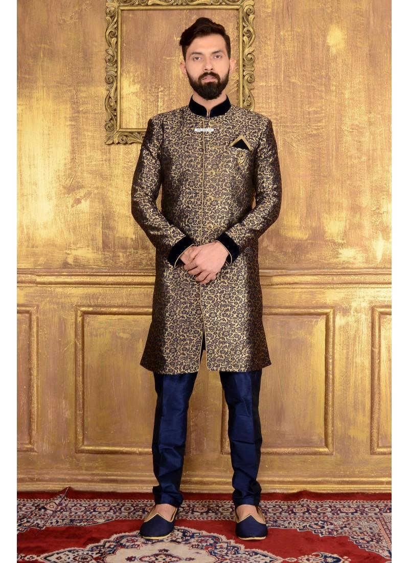 7ac1251e43 Outstanding Black Jacquard Designer Sherwani   Sherwani