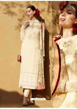 Cream Georgette Salwar Kameez
