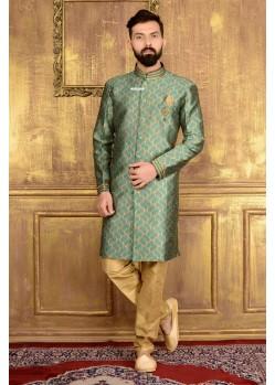 Unique Green Churidar Sherwani