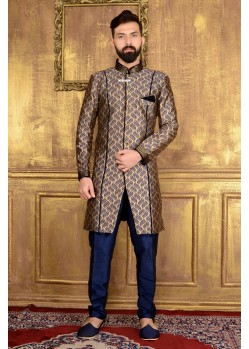 Outstanding Brown Jacquard Embroidered Sherwani