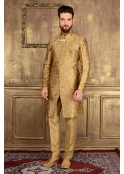 Astonishing Golden Jacquard Churidar Sherwani