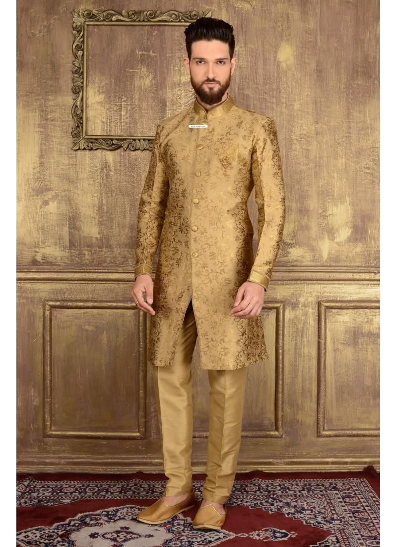 Astonishing Golden Jacquard Churidar Sherwani | Sherwani