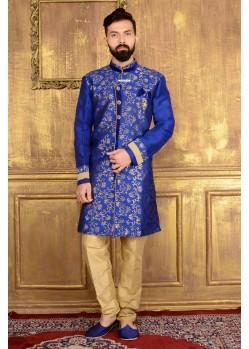 Incredible Blue Jacquard Embroidered Sherwani