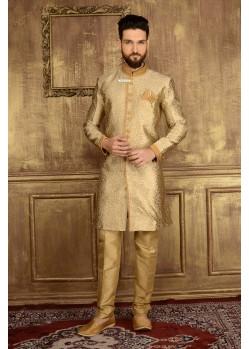 Eye-catching Golden Jacquard Churidar Sherwani