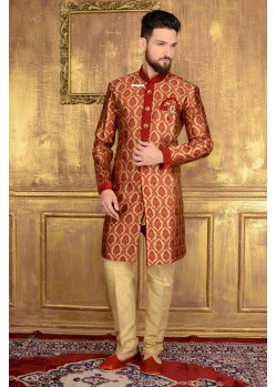Enhanting Red Jacquard Churidar Sherwani
