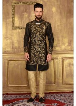 Admiring Black Party Wear Sherwani