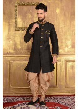 Festive Black Banarasi Silk Dhoti Shervani